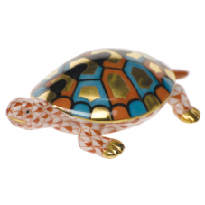 Herend Porcelain Fishnet Figurine of a Baby Turtle